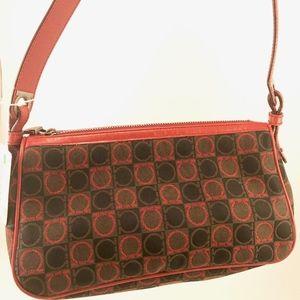 Gancio Pattern Purse Red Black Brown Canvas Bag